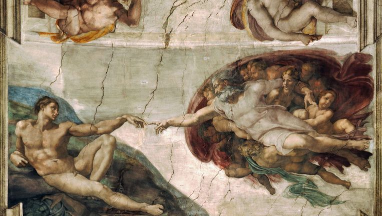 Michelangelo, De schepping van Adam (1512). Plafond van de Sixtijnse kapel. Beeld null