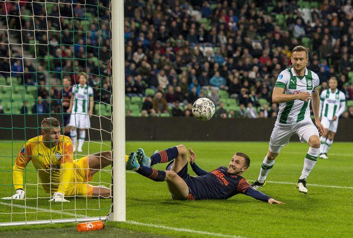 RKC-spits Dylan Vente deed er gisteravond alles aan, maar kon zijn ploeg niet voorbij FC Groningen helpen.