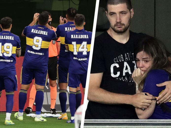 Links: de spelers van Boca Juniors. Rechts: Dalma Maradona volgde de match in de box van haar vader.