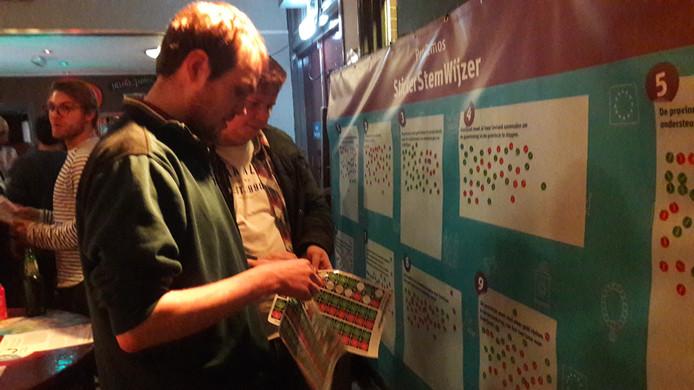 Jongeren bij de sticker-stemwijzer van Pro Demos in jongerencemntrum Cerberus in Hengelo, op een avond ter gelegenheid van de provinciale en waterschapsverkiezingen
