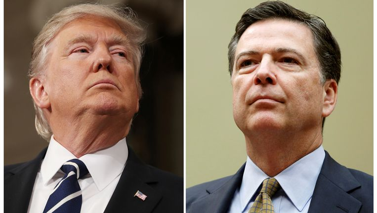 President Donald Trump (links) en de voormalige FBI-directeur James Comey. Beeld reuters