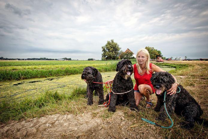 Adrienne Kivits uit Hank met drie van haar honden bij het graf van Amstel. Chessy (middelste) heeft de aanrijding op de A27 overleefd.