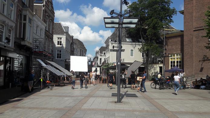 In het centrum wordt gefilmd voor een reclamespot