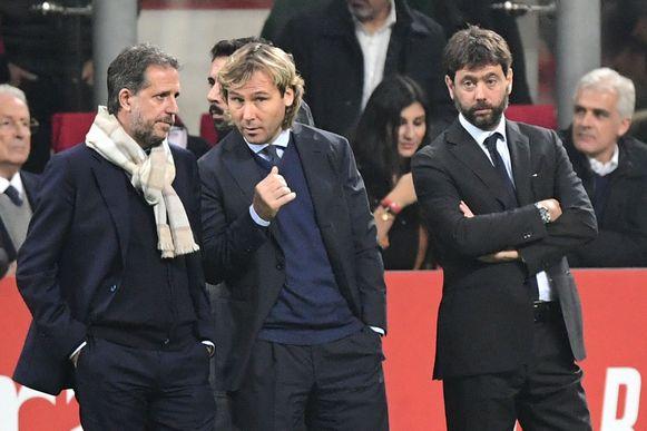 Van links naar rechts: Fabio Paratici, vice-voorzitter Pavel Nedved en voorzitter Andrea Agnelli.