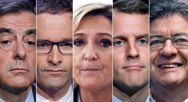 V.l.n.r. Francois Fillon, Benoit Hamon, Marine Le Pen, Emmanuel Macron en Jean-Luc Melenchon. Beeld REUTERS
