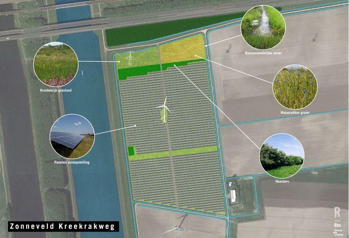 Landschappelijke inpassing zonnepark Kreekrakweg Rilland.