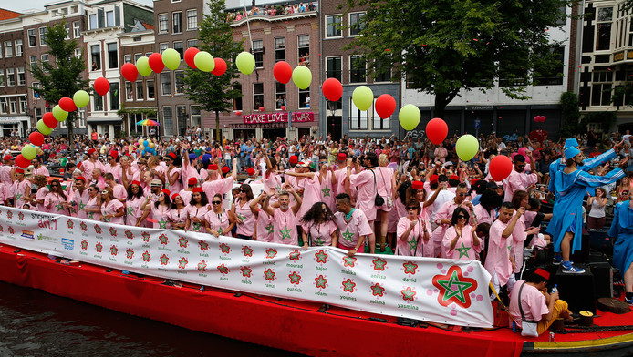 De Marokkaanse boot was dit jaar een primeur tijdens de botenparade van de Gay Pride.