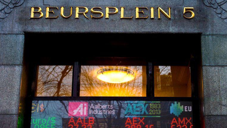 De ingang van het beursgebouw op Beursplein. Beeld anp