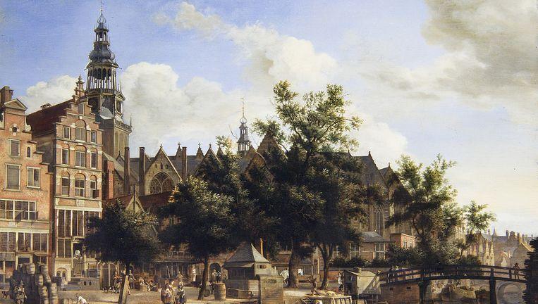 Jan van der Heyden: Gezicht op de Oudezijds Voorburgwal en de Oude Kerk in Amsterdam, circa 1670; olieverf op paneel; 41,4 x 52,3 cm. Beeld Museum Het Mauritshuis Den Haag