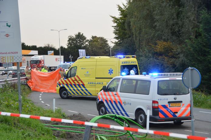 Op de N209 gebeuren geregeld ongelukken, zoals hier bij Bleiswijk.