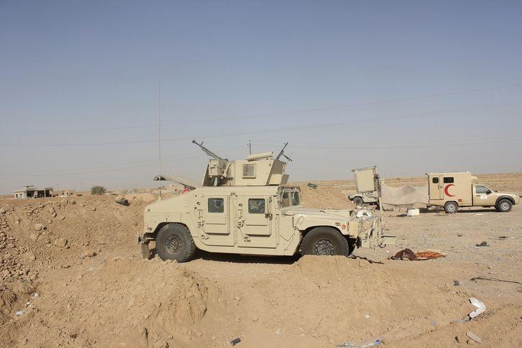 Iraakse veiligheidstroepen hebben het dorp Adhaim ingenomen dat in handen was van de IS-strijders. Beeld reuters