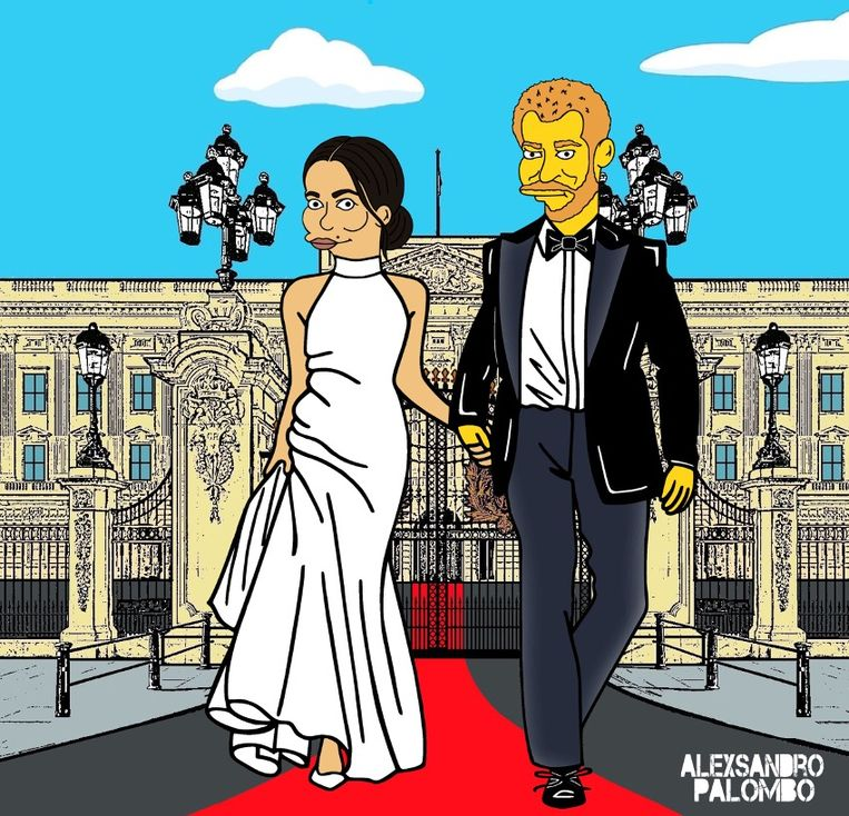 De Italiaanse popkunstenaar AleXsandro Palombo maakte van Harry en Meghan personages uit The Simpsons.