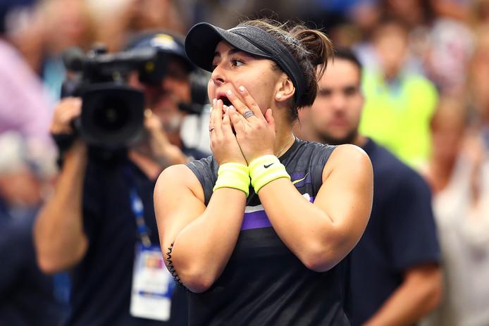 Bianca Andreescu kan amper geloven dat ze de titel heeft gepakt op de US Open.