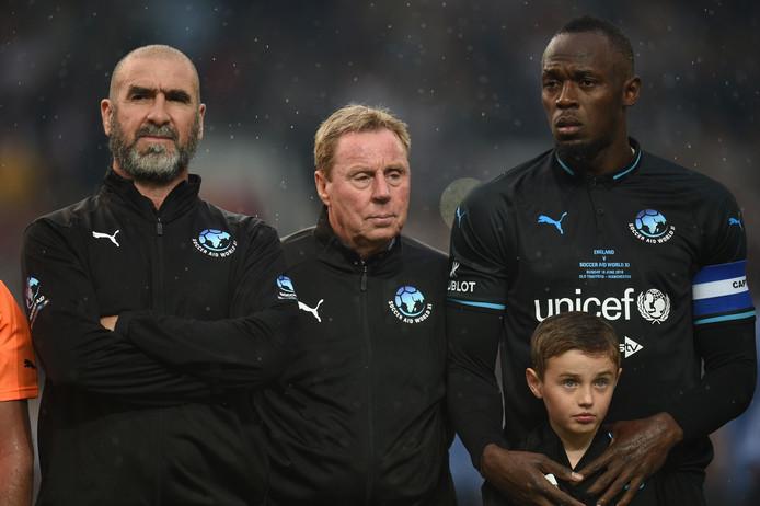 Eric Cantona, Harry Redknapp en Usain Bolt voor de wedstrijd.