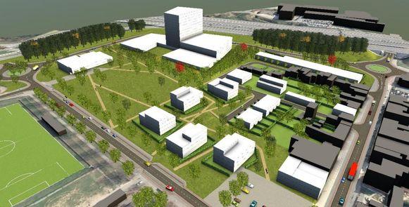 Een tweede toekomstbeeld met links onderaan het voetbalveld van Zellik en helemaal bovenaan de ring rond Brussel.