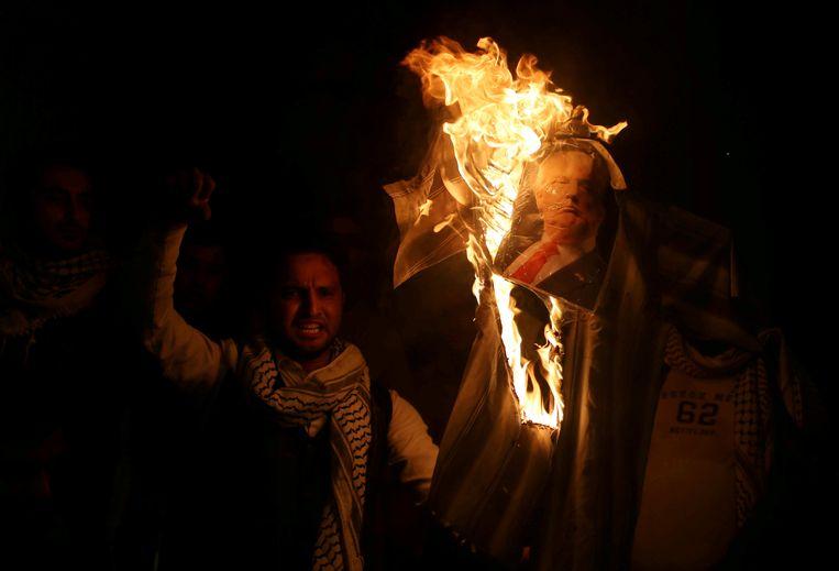 Protest op de Gazastrook tijdens de VN-zitting. Beeld reuters