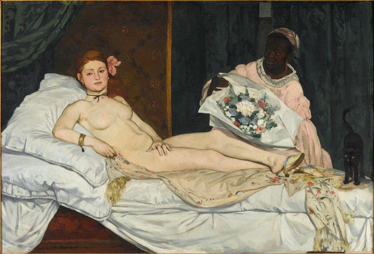 Édouard Manet, Olympia, 1863, Musée D'Orsay. Olieverf op doek, 130,5 X 191 cm  Beeld © Musée d'Orsay, Dist. RMN-Grand Palais / Patrice Schmidt