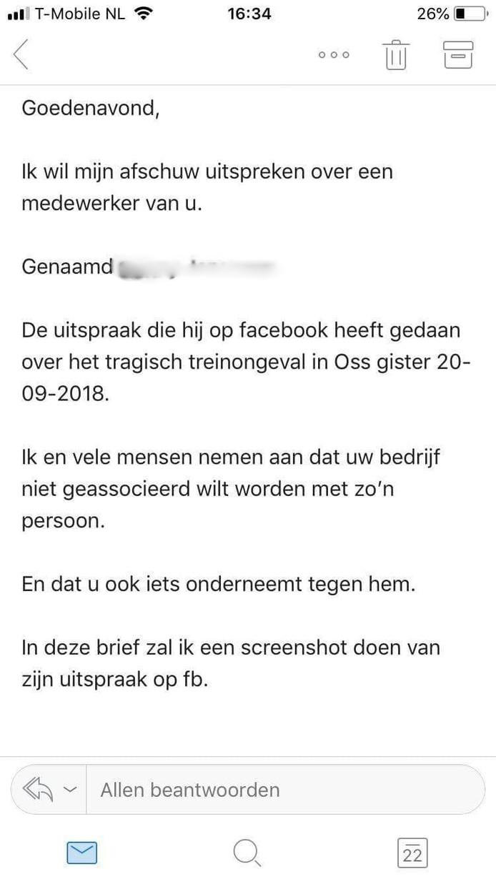 Een mail van een boze gebruiker aan een bedrijf
