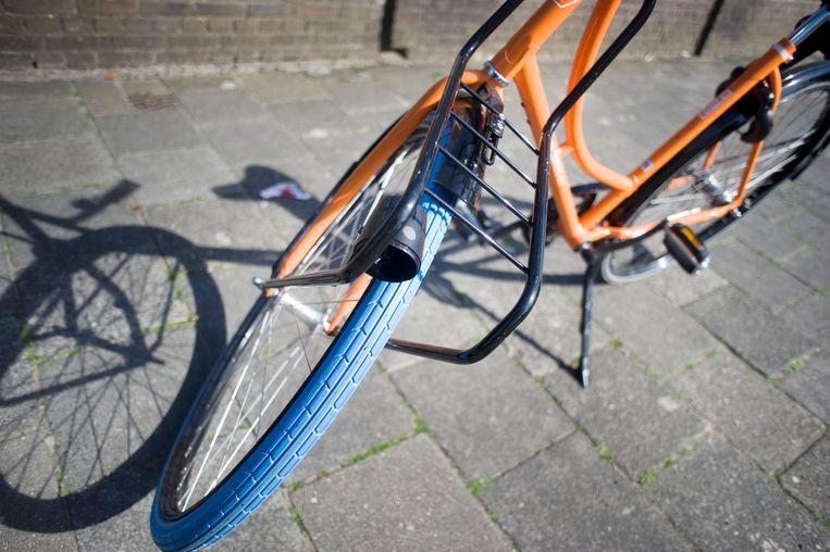 De 44.000 fietsen van Swapfiets zijn herkenbaar aan de blauwe voorband. Beeld Hollandse Hoogte / Piet den Blanken