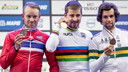 Het podium van het WK van vorig jaar, v.l.n.r.: Alexander Kristoff (zilver), wereldkampioen Peter Sagan, Michael Matthews (brons).
