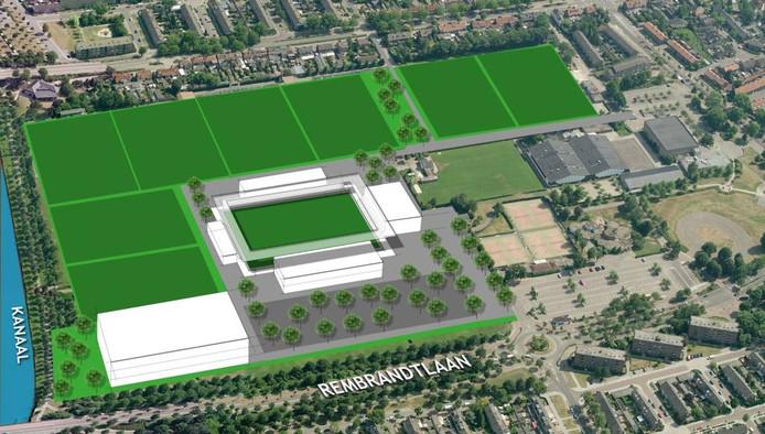 Impressie van het plan voor De Braak. Links 'De Knip', in het midden een nieuw stadion.