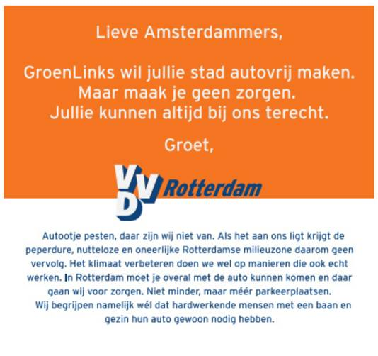 De advertentie op de voorpagina van Het Parool.