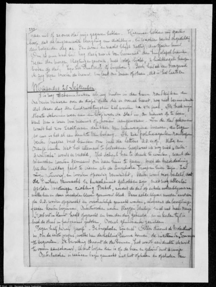 Een pagina uit het dagboek van Frans Vincent, over de bevrijdingsdag in Helmond