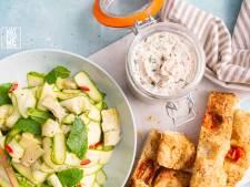 Wat Eten We Vandaag: Makreelrillettes met courgettesalade en focaccia