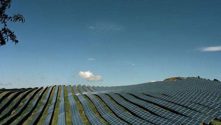 Veld met zonnepanelen. Zwaar inzetten op zonne-energie kan nieuwe vormen van afhankelijkheid veroorzaken. Beeld getty