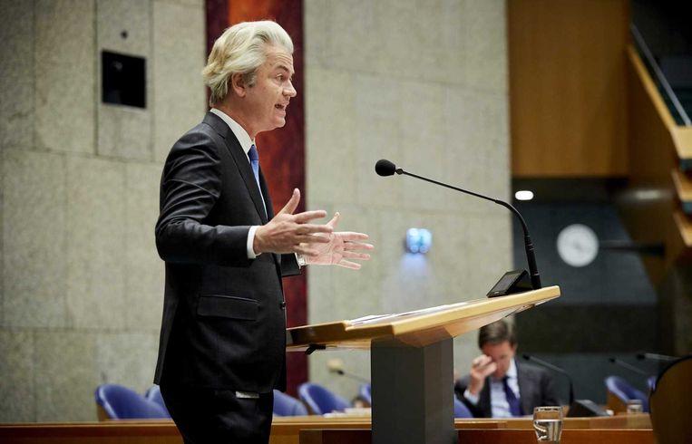 Geert Wilders tijdens het debat over de Europese top. Beeld ANP
