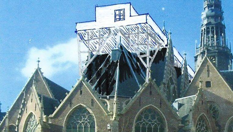Zo ongeveer zal de steiger boven het dak uitsteken Beeld Taturo Atzu