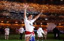 Ruud van Nistelrooy viert feest na de kampioenswedstrijd tegen Real Mallorca.
