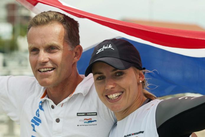 Jaap Zielhuis met Marit Bouwmeester bij de Olympische Spelen.