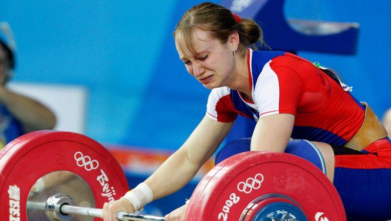 De Russische gewichthefster Marina Shainova tijdens de Olympische Spelen in Peking van 2008. Beeld epa