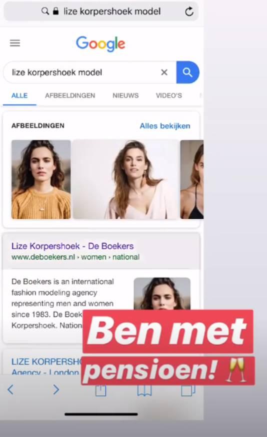Lize Korpershoek is niet meer te boeken als model