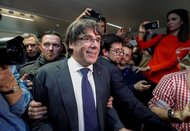 Puigdemont dinsdag op zijn massaal bijgewoonde persconferentie in Brussel.