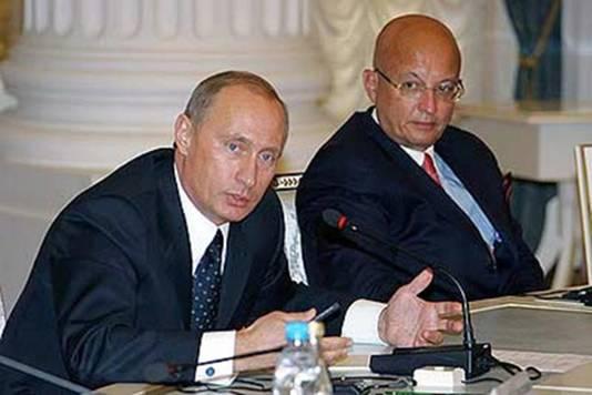 Karaganov en Poetin op archiefbeeld.