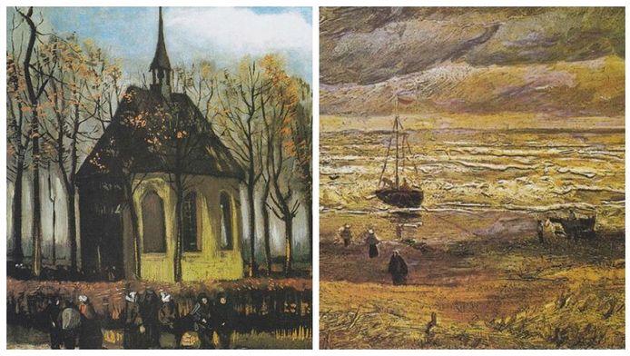 Het gaat om de doeken Zeegezicht bij Scheveningen (1882) en Het uitgaan van de Hervormde Kerk te Nuenen (1884/85).
