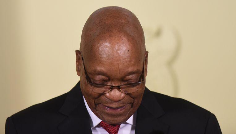 President Zuma kondigt op 14 februari zijn aftreden aan met onmiddellijke ingang. Eerder op de dag had hij nog verklaard 'niets verkeerds te hebben gedaan'. Beeld null