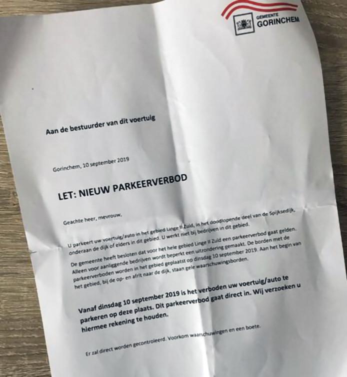 De waarschuwingsbrief van de gemeente Gorinchem was niet ondertekend.