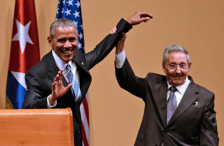 Barack Obama met zijn Cubaanse collega Raul Castro in Havana, maart 2016. Beeld afp