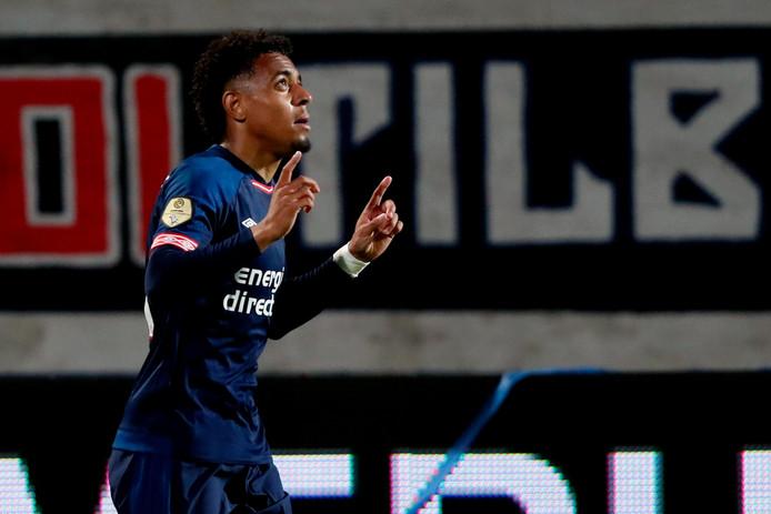 Donyell Malen na zijn 0-1 voor PSV tegen Willem II.