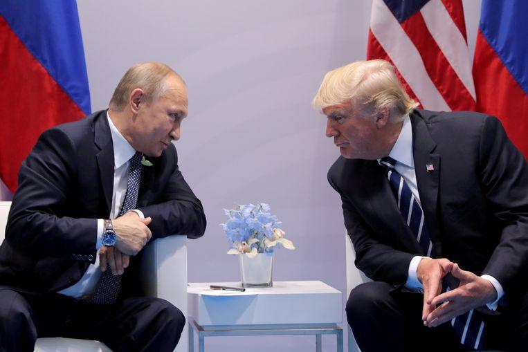 Poetin en Trump tijdens de G20-top in Hamburg, Duitsland op 7 juli 2017.