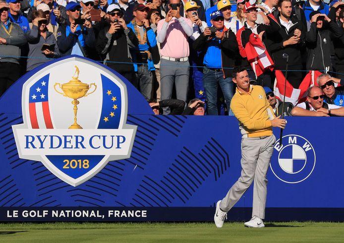 Rory McIlroy in actie tijdens de Ryder Cup.