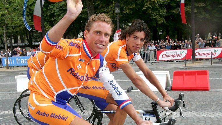 Michael Boogerd en Thomas Dekker. Beeld epa
