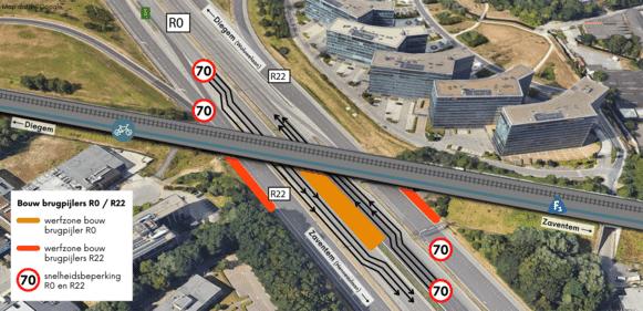 Door de plaatsing van de drie brugpijlers wordt de maximumsnelheid op de Brusselse ring al zeker tot begin september verlaagd naar 70 kilometer per uur.