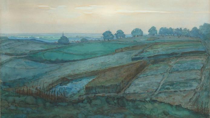 Landschap bij Arnhem, van Piet Mondriaan, omstreeks 1902.