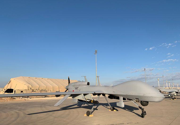 Een Amerikaanse drone op een luchtmachtbasis in Irak.  Beeld AFP