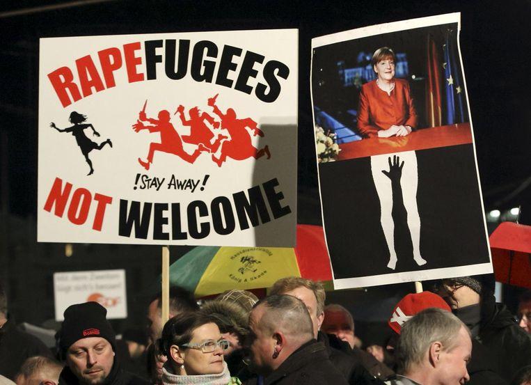 Demonstranten van Legida in Leipzig Beeld reuters