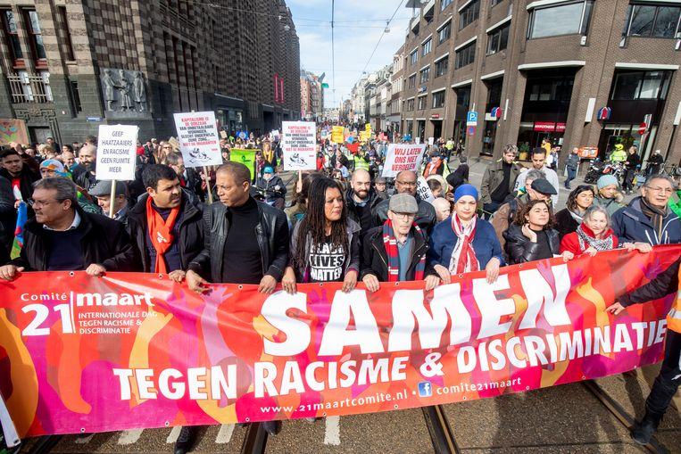Demonstranten tijdens de jaarlijkse anti-racismedemonstratie van vorige maand. Beeld ANP